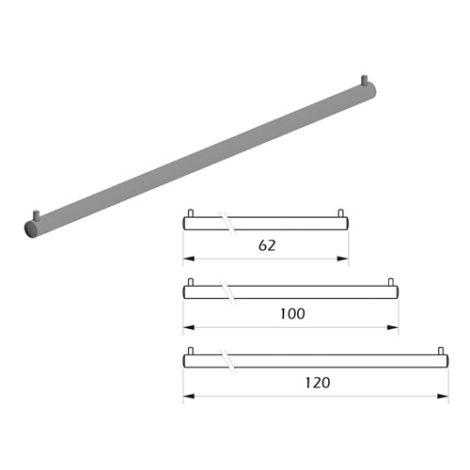 Detalles Barra perchero para cuelgue vertical fijación a tornillo Kode03
