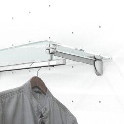 Estantes de cristal con barra perchero para fijación Kode03