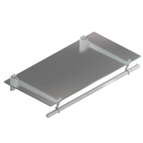 Estante de cristal con barra perchero fijación a expansión Kode03