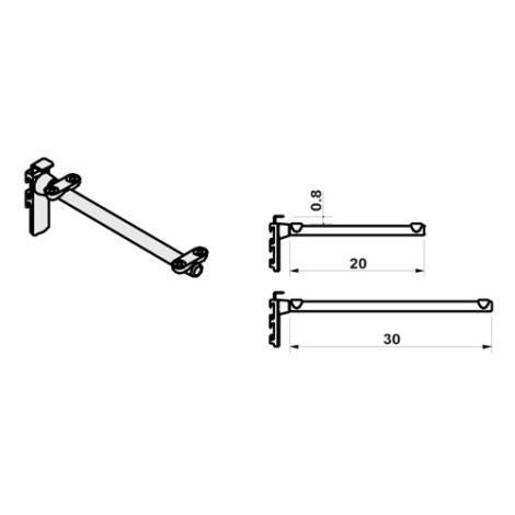 Estribo para estantes con soporte central sistema fijación Climb