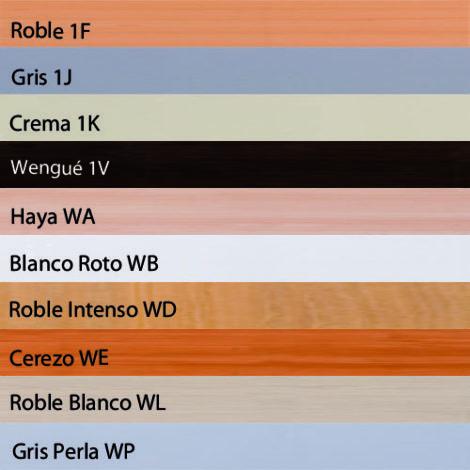 Colores disponibles en madera melamina para listones de perfil Climb