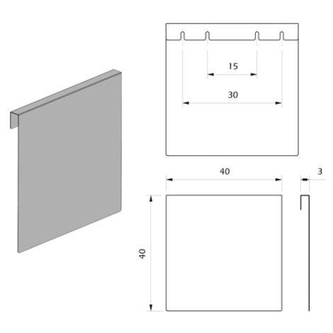 Detalle Técnico Porta Publicidad Horizontal para Botón Kode03