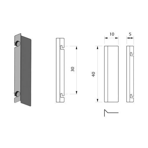 Detalle Técnico Porta Publicidad Vertical para Botón Kode03