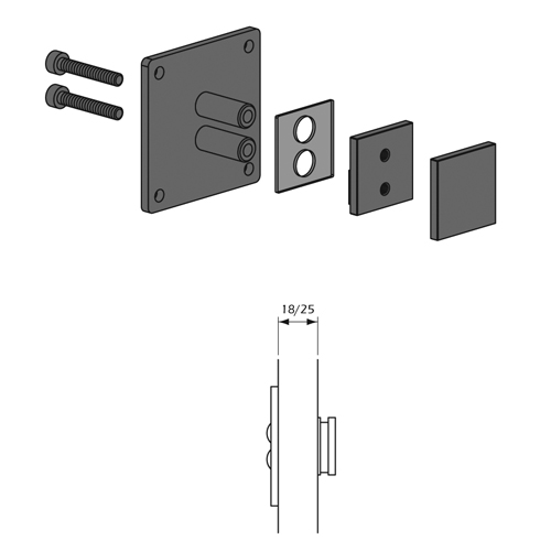 Detalle Técnico Botón Kode01 para fijación posterior para paneles madera