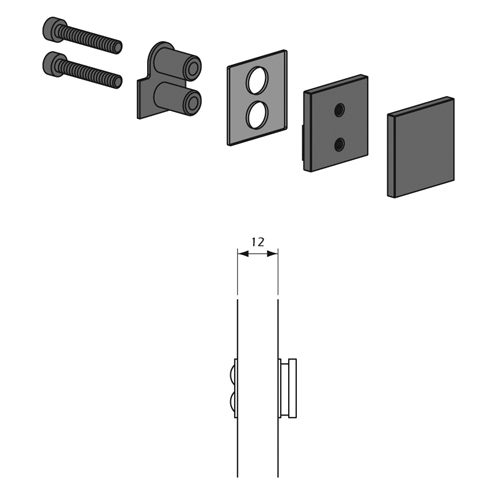 Detalle Técnico Botón Kode01 para fijación posterior para paneles cristal
