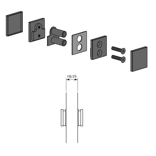 Detalle Técnico Botón Kode01 fijación contrapuesta para paneles madera o cristal