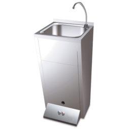 Lavamanos registrabl con pedestal doble pulsador agua fria y caliente