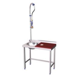 Mesa de preparación y lavado en acero inoxidable