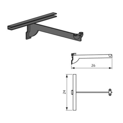 Detalle Técnico Estribo para estante de cristal individual Kode01 Acero Inoxidable