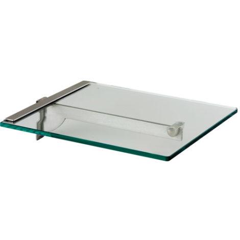 Estribo con perfil posterior para estante de cristal individual Kode01 Acero Inoxidable