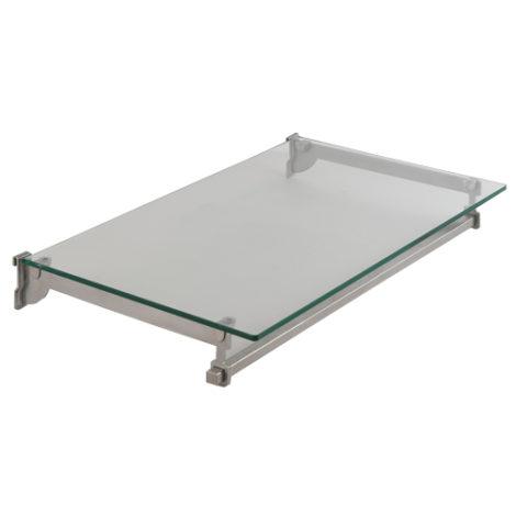 Estante de cristal con barra perchero en acero Kode01