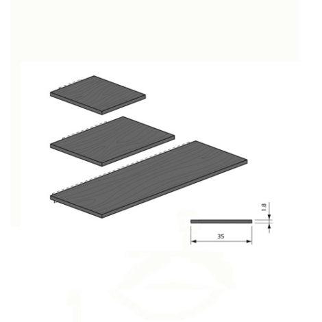 Detalles estante de madera para panel lama Thinline