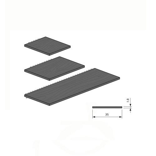 Detalle estante de madera con refuerzo basic Panel Lama Thinline