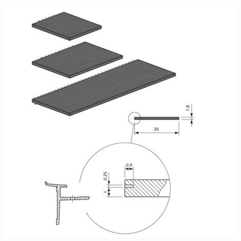 Detalles Estantes madera con perfil aluminio para Panel Lama Thinline