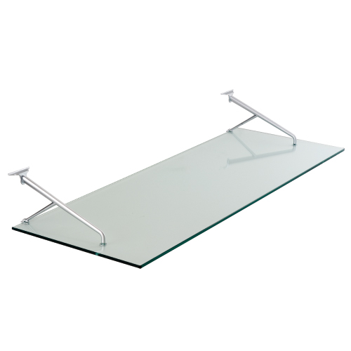 Estante Colgado de Cristal Transparente con Estribo Níquel Perla Thinline