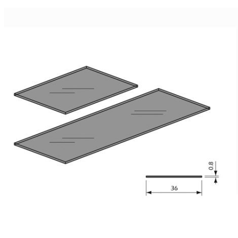 Detalle Estante cristal transparente para panel lama Thinline