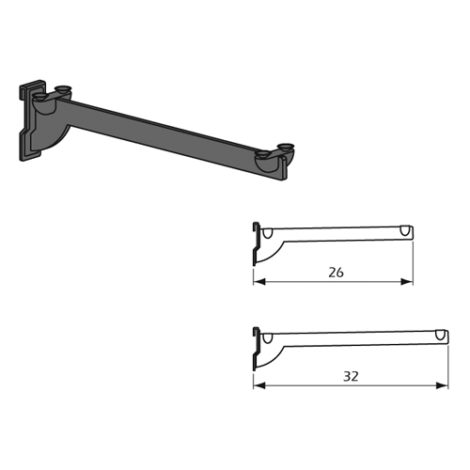Detalle estribo Kode01 para estante de madera en acero inoxidable