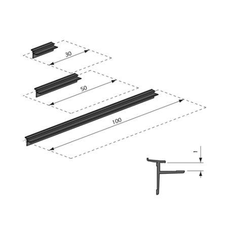 Perfil de aluminio para estantes de madera Thinline
