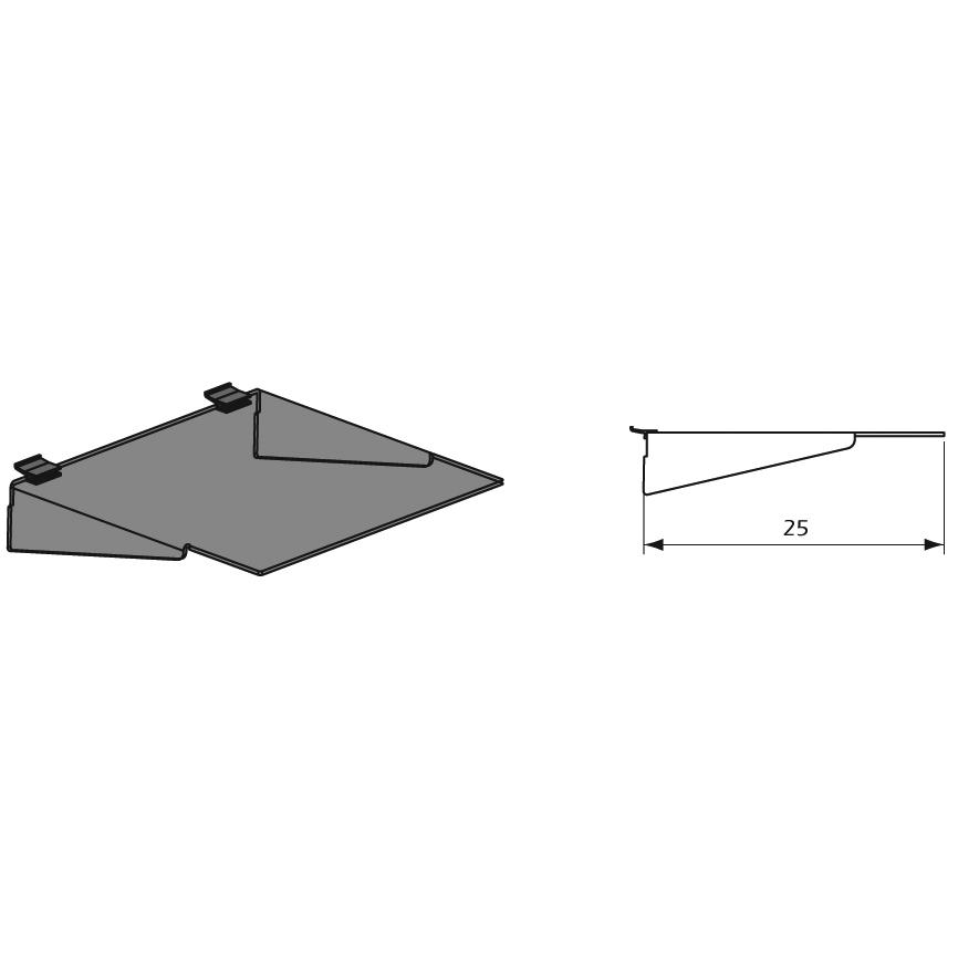 Detalles Estante con Refuerzo Lateral para Paneles Lama Thinline