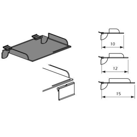 Detalle Estantes de Metacrilato con Aletas laterales y Etiquetero para Thinline