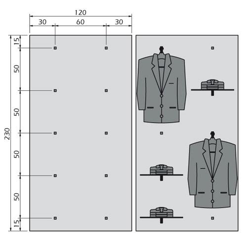 Composici n mural percheros y estantes para tienda ropa for Colgadores de ropa de pared